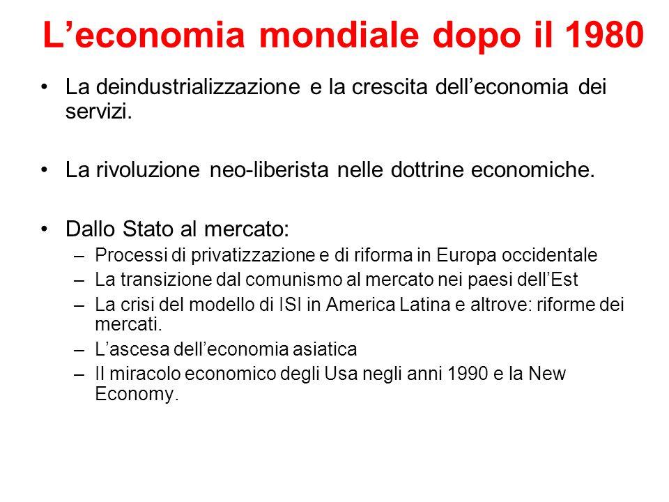 Leconomia mondiale dopo il 1980 La deindustrializzazione e la crescita delleconomia dei servizi. La rivoluzione neo-liberista nelle dottrine economich