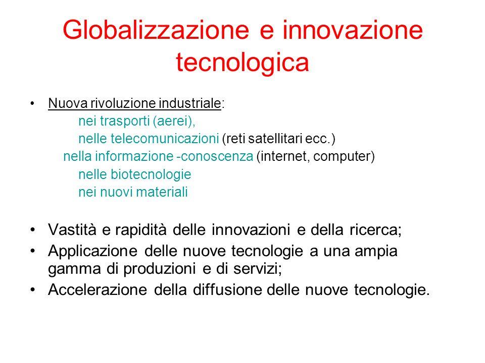 Globalizzazione e innovazione tecnologica Nuova rivoluzione industriale: nei trasporti (aerei), nelle telecomunicazioni (reti satellitari ecc.) nella