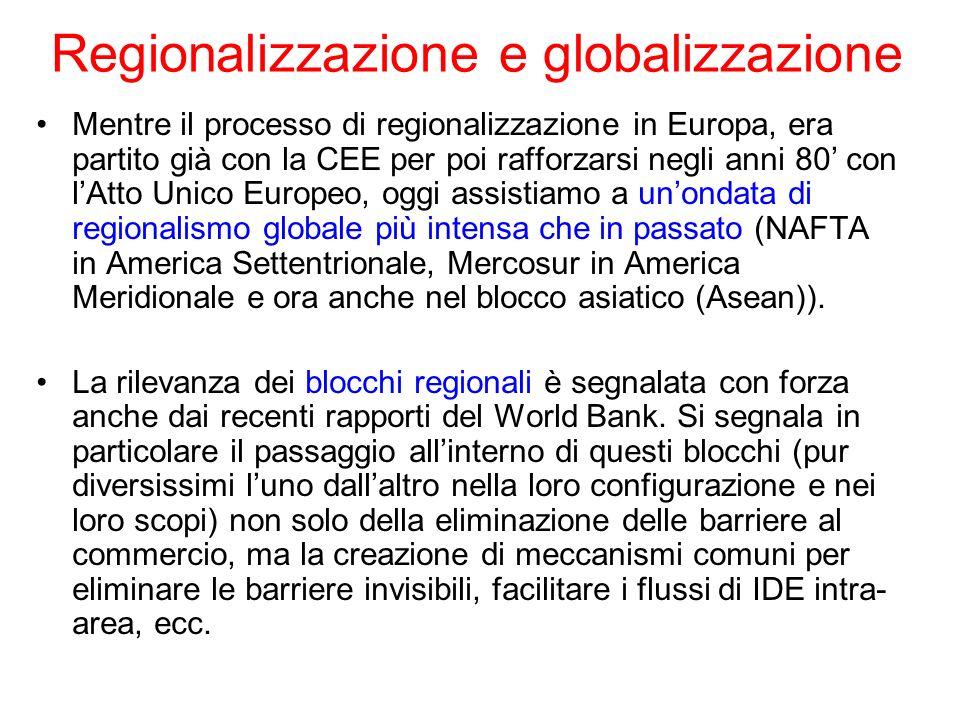 Regionalizzazione e globalizzazione Mentre il processo di regionalizzazione in Europa, era partito già con la CEE per poi rafforzarsi negli anni 80 co
