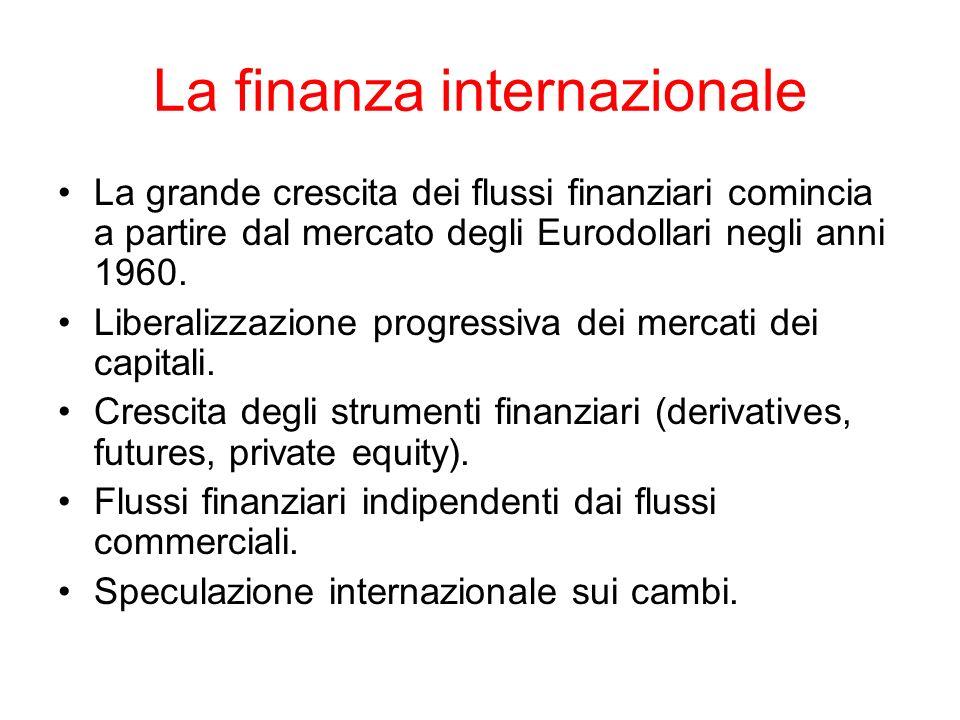 La finanza internazionale La grande crescita dei flussi finanziari comincia a partire dal mercato degli Eurodollari negli anni 1960. Liberalizzazione