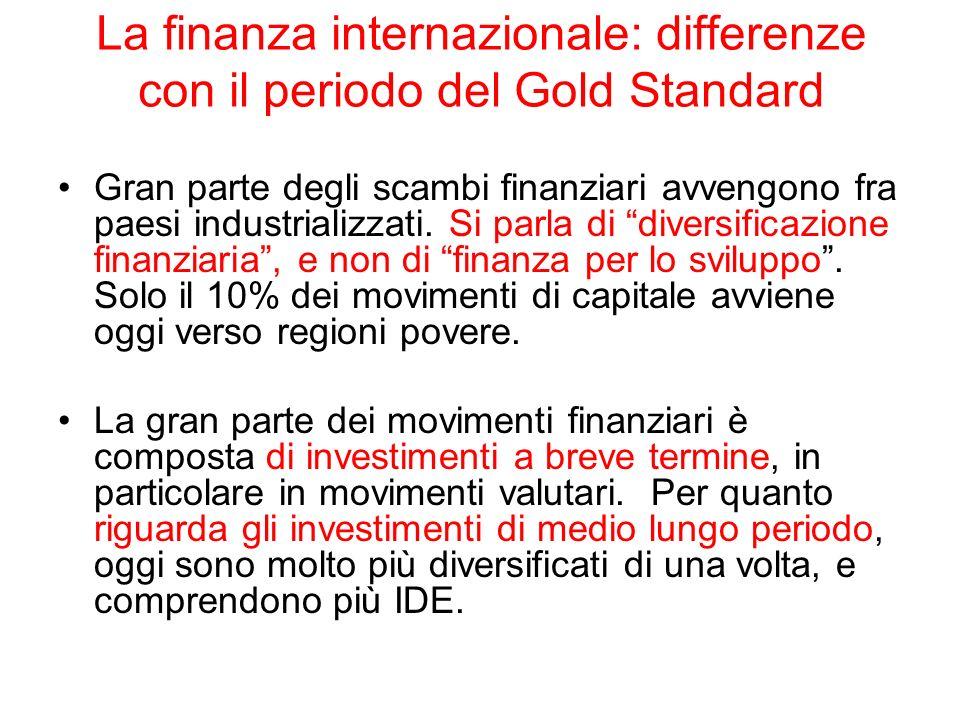 La finanza internazionale: differenze con il periodo del Gold Standard Gran parte degli scambi finanziari avvengono fra paesi industrializzati. Si par