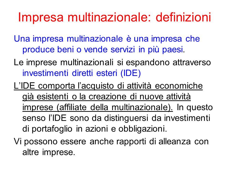 Impresa multinazionale: definizioni Una impresa multinazionale è una impresa che produce beni o vende servizi in più paesi. Le imprese multinazionali