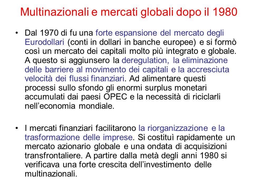 Multinazionali e mercati globali dopo il 1980 Dal 1970 di fu una forte espansione del mercato degli Eurodollari (conti in dollari in banche europee) e