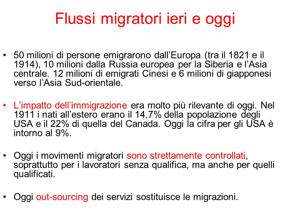 Flussi migratori ieri e oggi 50 milioni di persone emigrarono dallEuropa (tra il 1821 e il 1914), 10 milioni dalla Russia europea per la Siberia e lAs