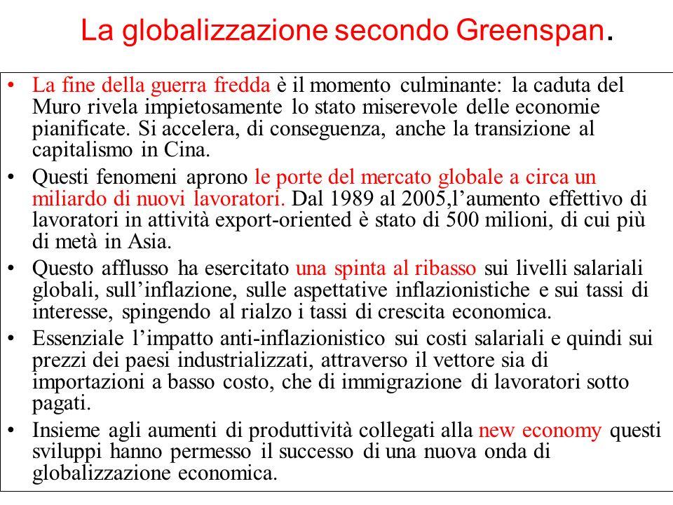 La globalizzazione secondo Greenspan. La fine della guerra fredda è il momento culminante: la caduta del Muro rivela impietosamente lo stato miserevol