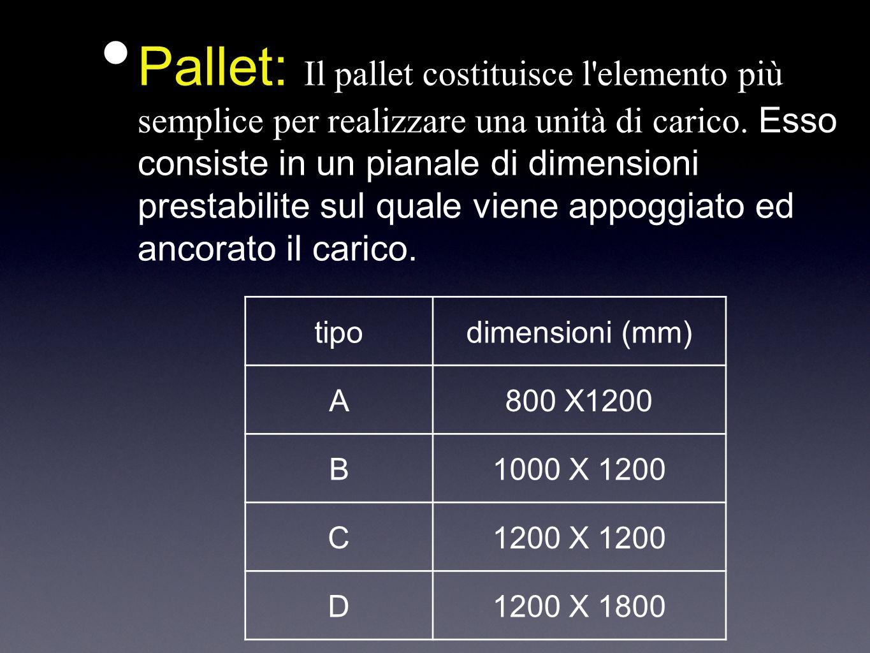 Pallet: Il pallet costituisce l'elemento più semplice per realizzare una unità di carico. Esso consiste in un pianale di dimensioni prestabilite sul q