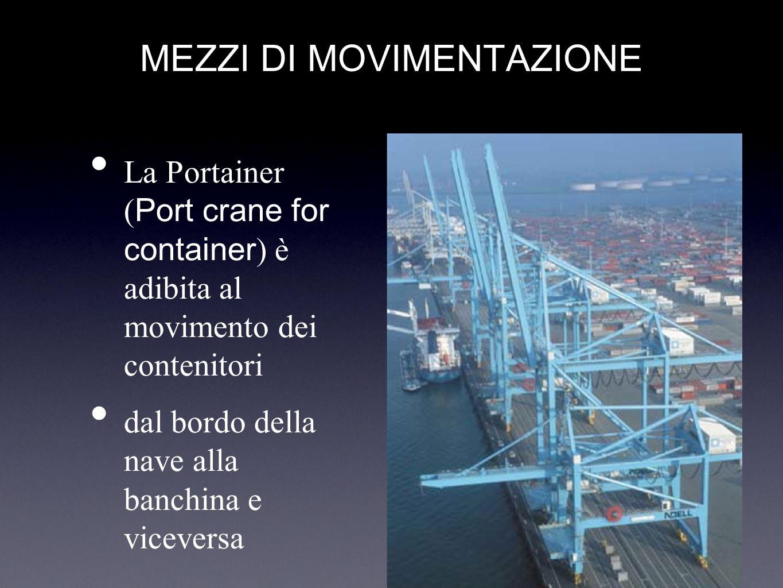 MEZZI DI MOVIMENTAZIONE La Portainer ( Port crane for container ) è adibita al movimento dei contenitori dal bordo della nave alla banchina e vicevers
