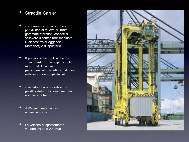 Straddle Carrier è sostanzialmente un carrello a portale che si muove su ruote gommate sterzanti, capace di sollevare il contenitore mediante il dispo
