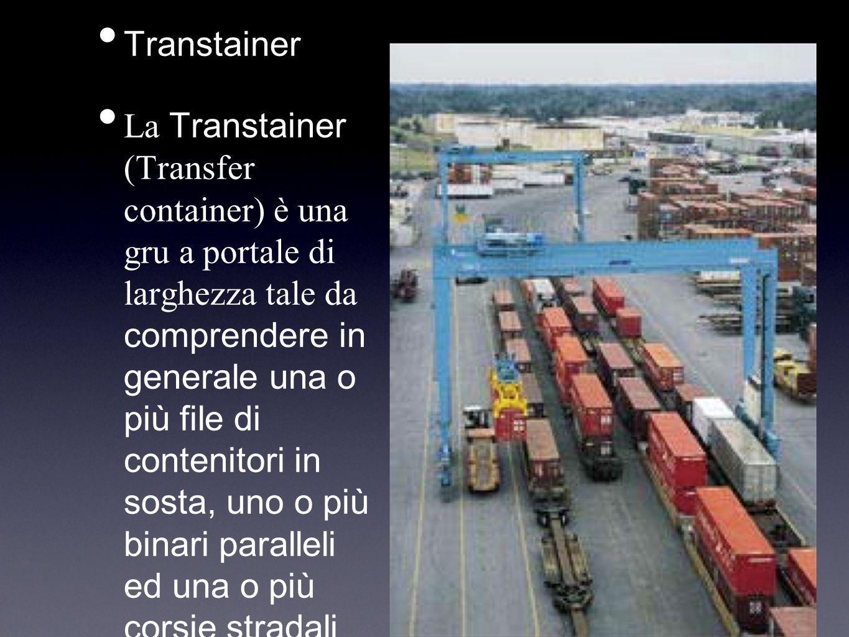 Transtainer La Transtainer (Transfer container) è una gru a portale di larghezza tale da comprendere in generale una o più file di contenitori in sost