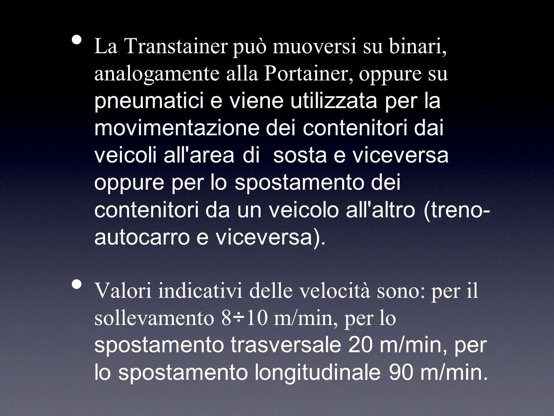 La Transtainer può muoversi su binari, analogamente alla Portainer, oppure su pneumatici e viene utilizzata per la movimentazione dei contenitori dai