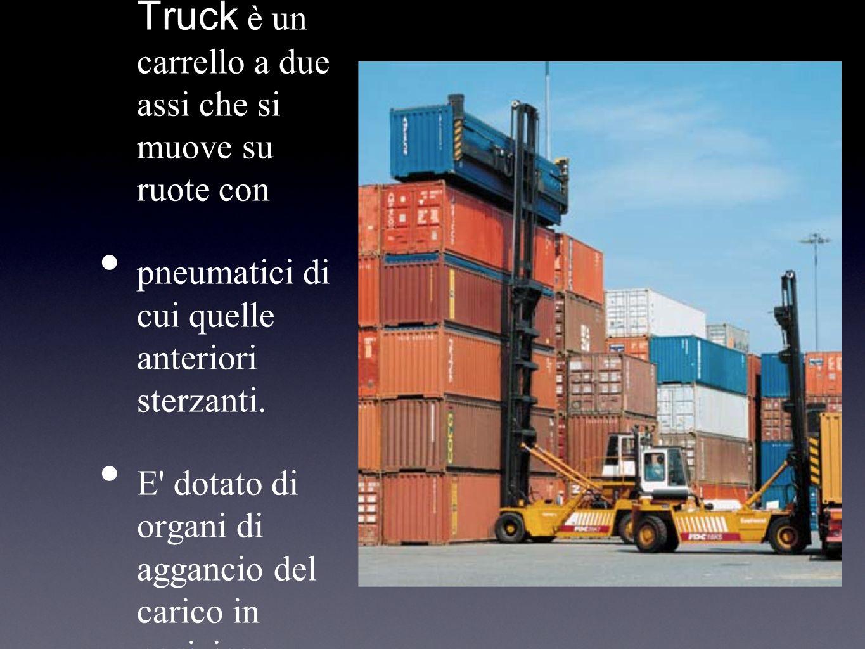 Il Fork Lift Truck è un carrello a due assi che si muove su ruote con pneumatici di cui quelle anteriori sterzanti. E' dotato di organi di aggancio de