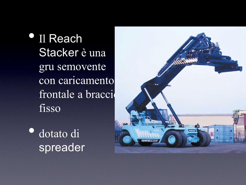 Il Reach Stacker è una gru semovente con caricamento frontale a braccio fisso dotato di spreader
