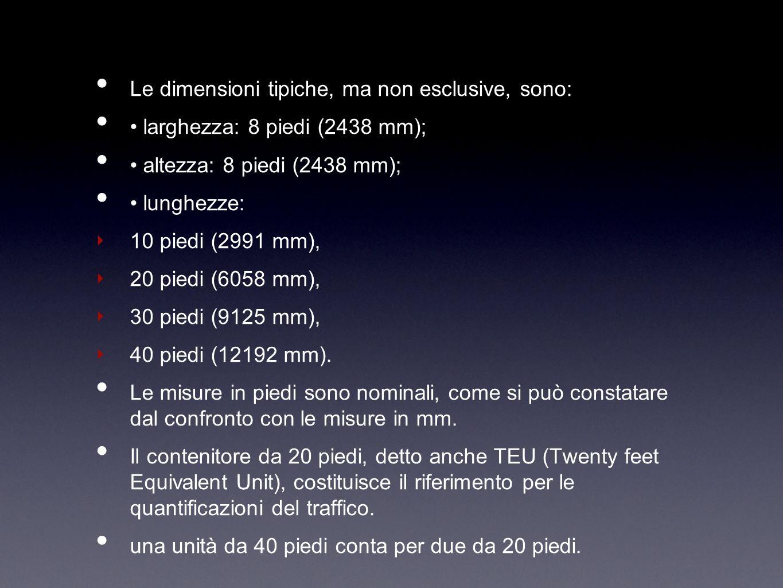 Le dimensioni tipiche, ma non esclusive, sono: larghezza: 8 piedi (2438 mm); altezza: 8 piedi (2438 mm); lunghezze: 10 piedi (2991 mm), 20 piedi (6058