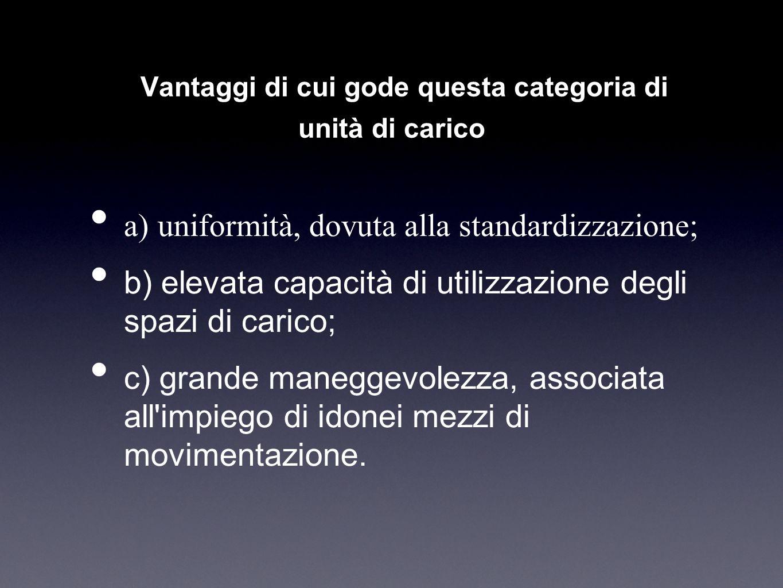 I Vantaggi di cui gode questa categoria di unità di carico a) uniformità, dovuta alla standardizzazione; b) elevata capacità di utilizzazione degli sp