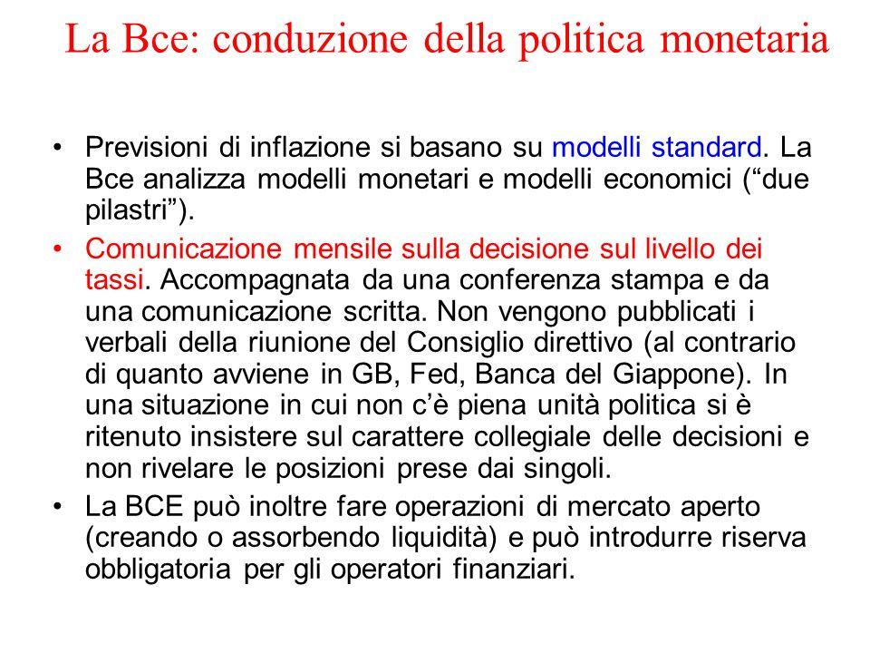 La Bce: conduzione della politica monetaria Previsioni di inflazione si basano su modelli standard. La Bce analizza modelli monetari e modelli economi