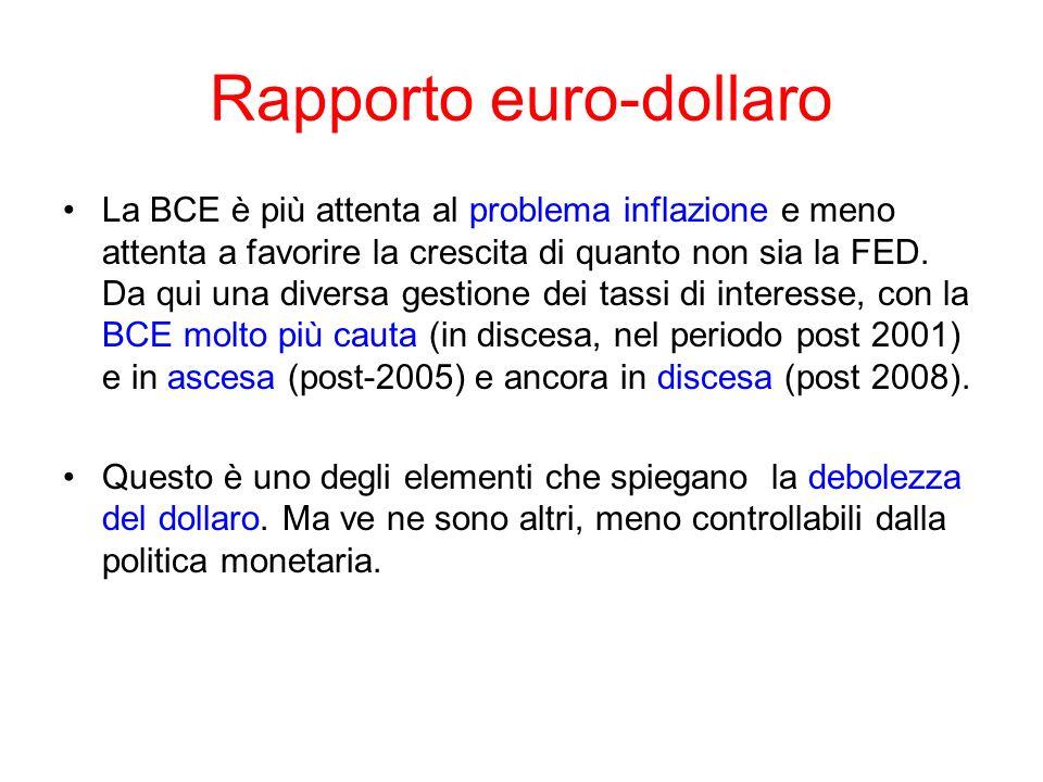 Rapporto euro-dollaro La BCE è più attenta al problema inflazione e meno attenta a favorire la crescita di quanto non sia la FED. Da qui una diversa g