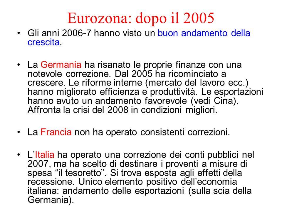 Eurozona: dopo il 2005 Gli anni 2006-7 hanno visto un buon andamento della crescita. La Germania ha risanato le proprie finanze con una notevole corre