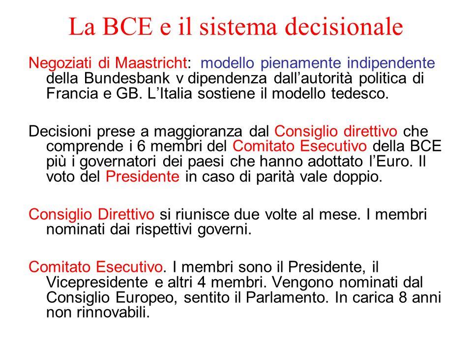 La BCE e il sistema decisionale Negoziati di Maastricht: modello pienamente indipendente della Bundesbank v dipendenza dallautorità politica di Franci