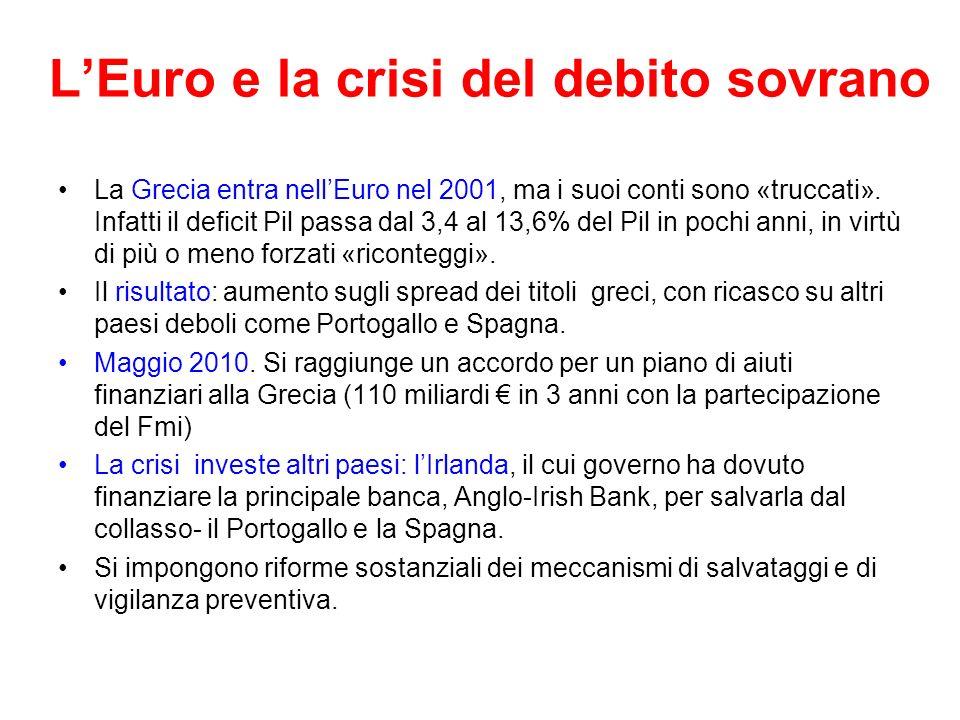 LEuro e la crisi del debito sovrano La Grecia entra nellEuro nel 2001, ma i suoi conti sono «truccati». Infatti il deficit Pil passa dal 3,4 al 13,6%