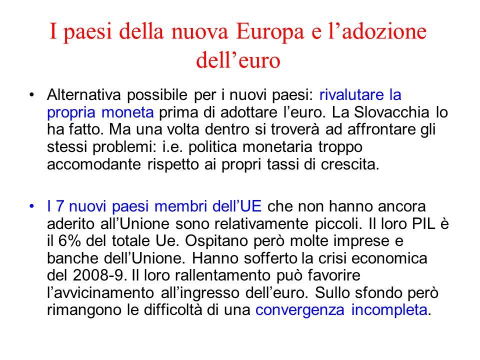 I paesi della nuova Europa e ladozione delleuro Alternativa possibile per i nuovi paesi: rivalutare la propria moneta prima di adottare leuro. La Slov