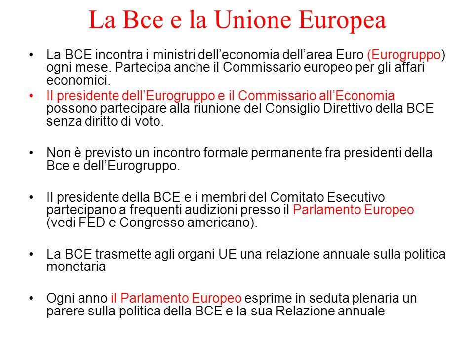 La Bce e la Unione Europea La BCE incontra i ministri delleconomia dellarea Euro (Eurogruppo) ogni mese. Partecipa anche il Commissario europeo per gl