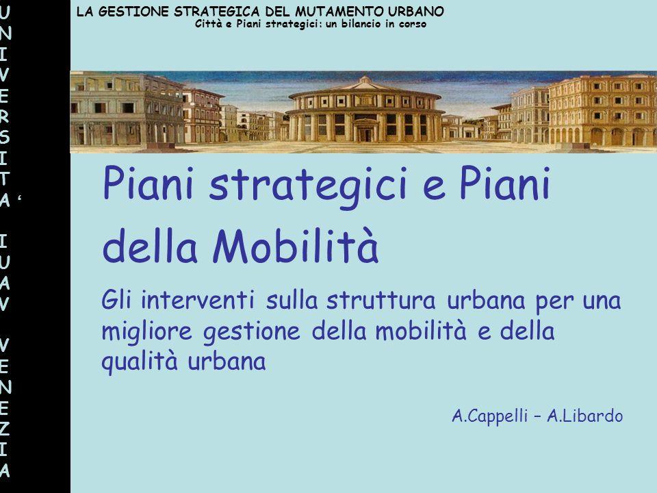 Piani strategici e Piani della Mobilità Gli interventi sulla struttura urbana per una migliore gestione della mobilità e della qualità urbana A.Cappel