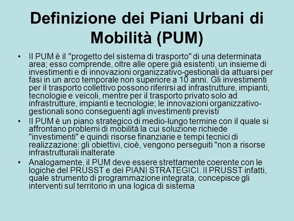 Definizione dei Piani Urbani di Mobilità (PUM) Il PUM è il