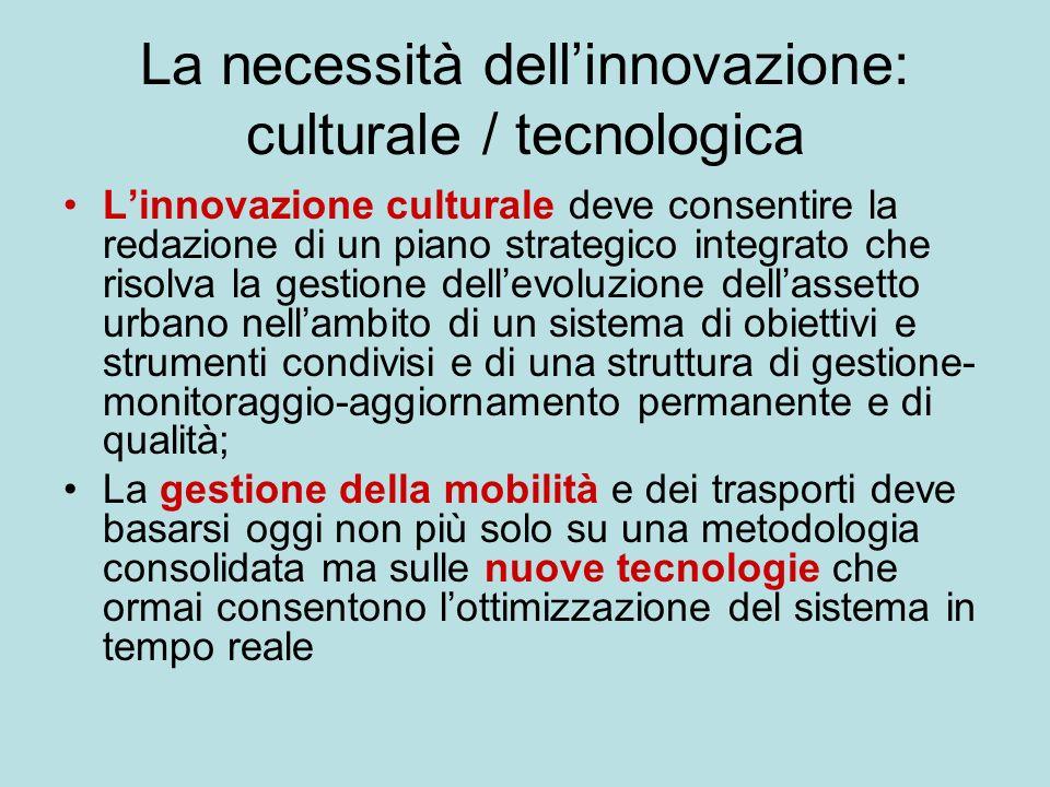 La necessità dellinnovazione: culturale / tecnologica Linnovazione culturale deve consentire la redazione di un piano strategico integrato che risolva