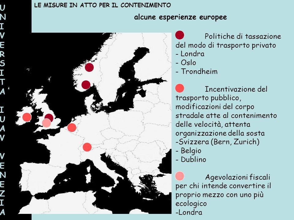 UNIVERSITAIUAVVENEZIAUNIVERSITAIUAVVENEZIA alcune esperienze europee LE MISURE IN ATTO PER IL CONTENIMENTO Politiche di tassazione del modo di traspor