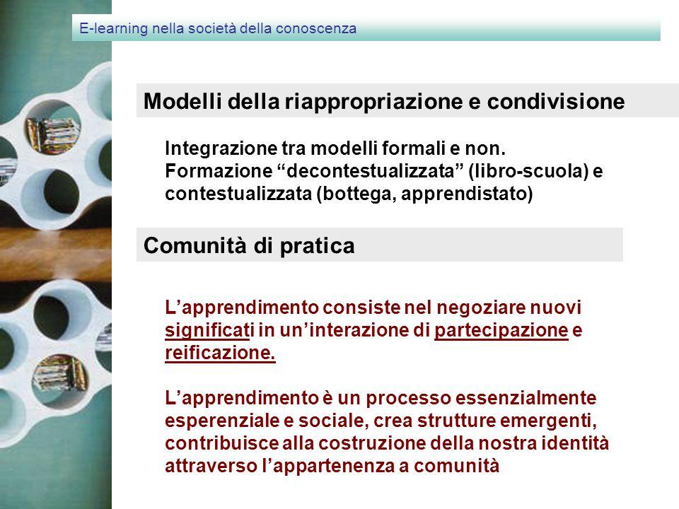 E-learning nella società della conoscenza Modelli della riappropriazione e condivisione Integrazione tra modelli formali e non.