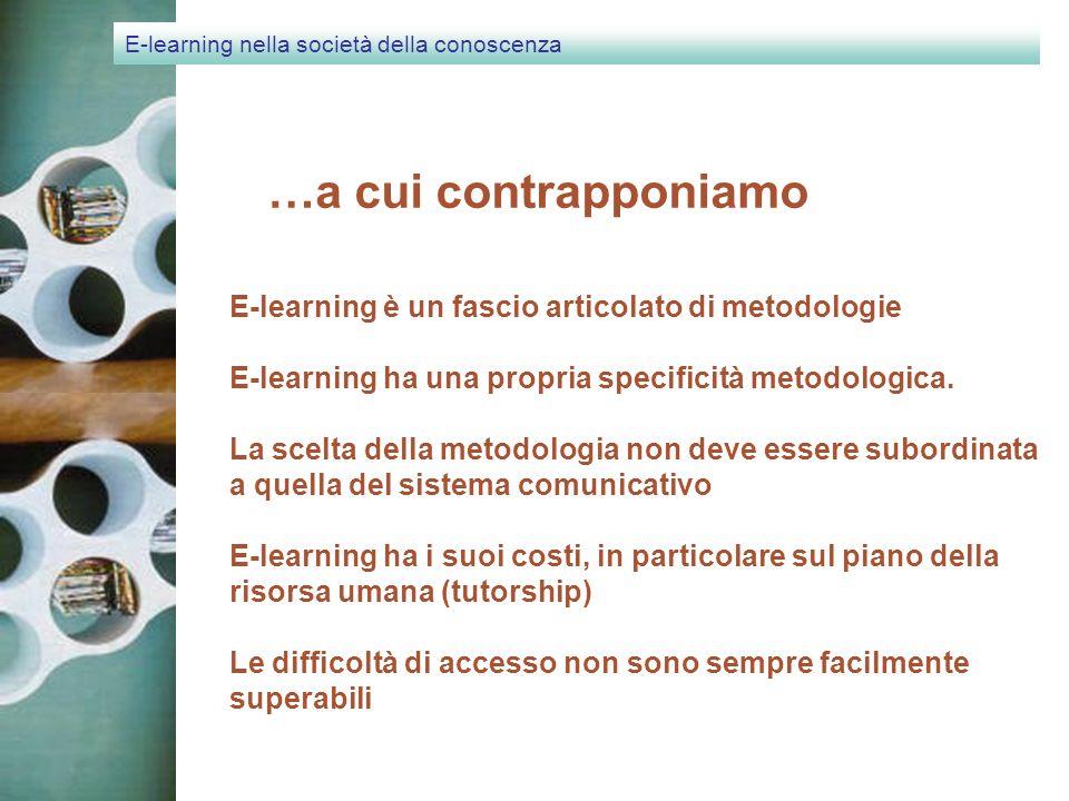 E-learning nella società della conoscenza …a cui contrapponiamo E-learning è un fascio articolato di metodologie E-learning ha una propria specificità metodologica.