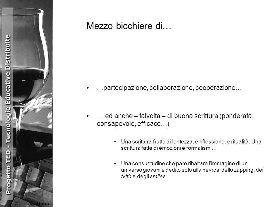 Mezzo bicchiere di… …partecipazione, collaborazione, cooperazione… … ed anche – talvolta – di buona scrittura (ponderata, consapevole, efficace…) Una scrittura frutto di lentezza, e riflessione, e ritualità.