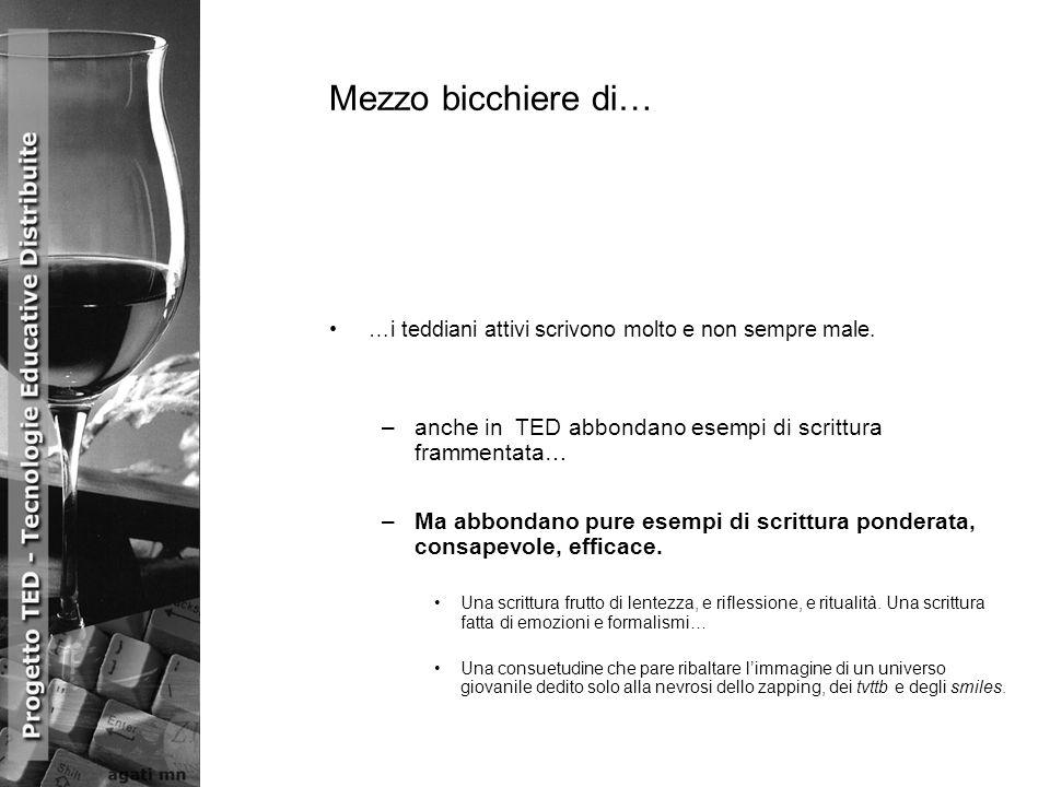 Mezzo bicchiere di… …i teddiani attivi scrivono molto e non sempre male. –anche in TED abbondano esempi di scrittura frammentata… –Ma abbondano pure e