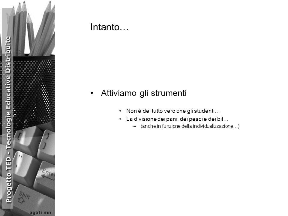 Attiviamo gli strumenti Non è del tutto vero che gli studenti… La divisione dei pani, dei pesci e dei bit… –(anche in funzione della individualizzazio