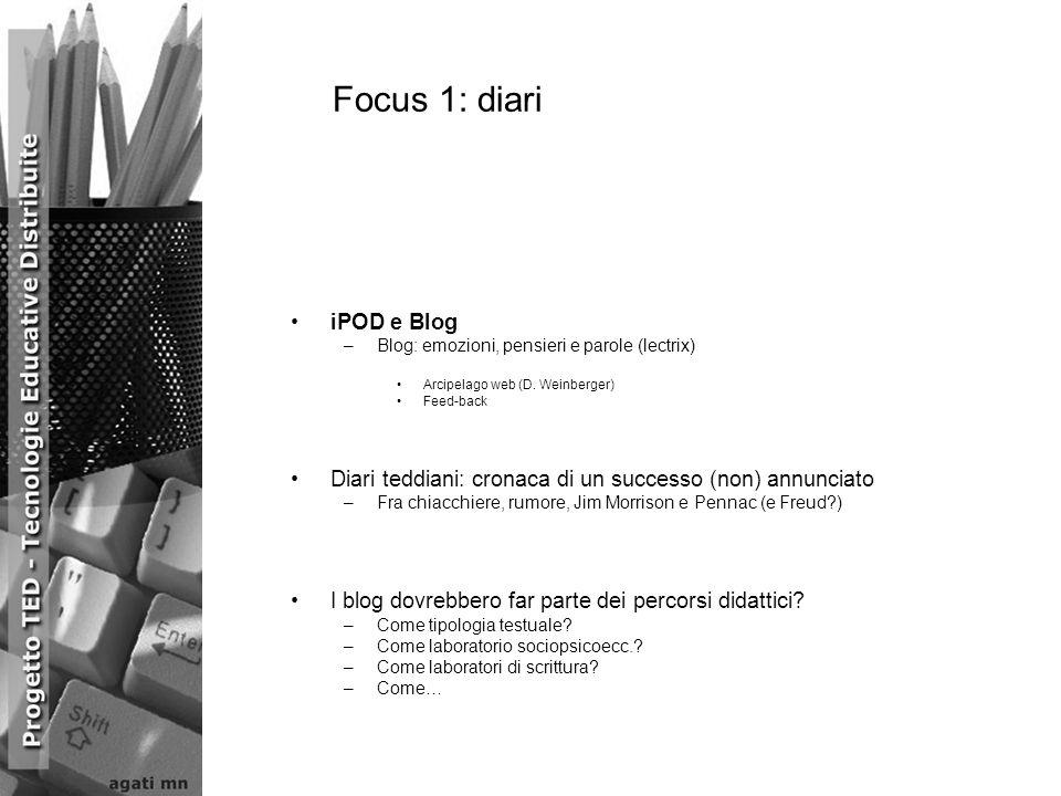 Focus 1: diari iPOD e Blog –Blog: emozioni, pensieri e parole (lectrix) Arcipelago web (D. Weinberger) Feed-back Diari teddiani: cronaca di un success