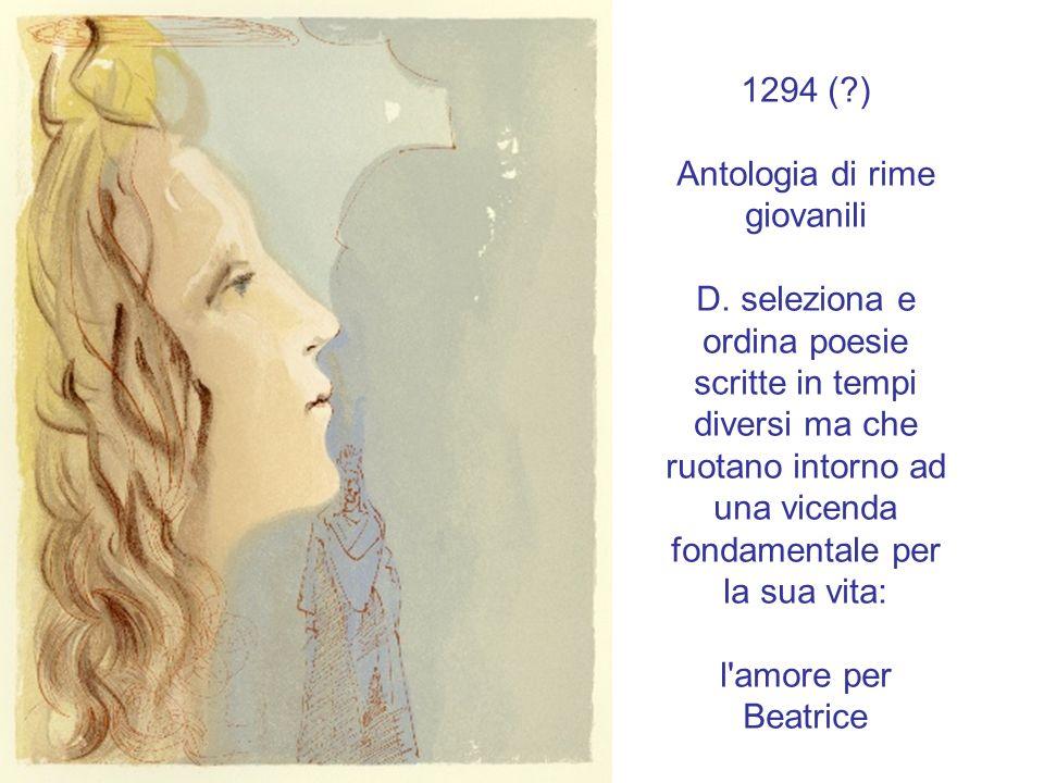 1294 (?) Antologia di rime giovanili D. seleziona e ordina poesie scritte in tempi diversi ma che ruotano intorno ad una vicenda fondamentale per la s