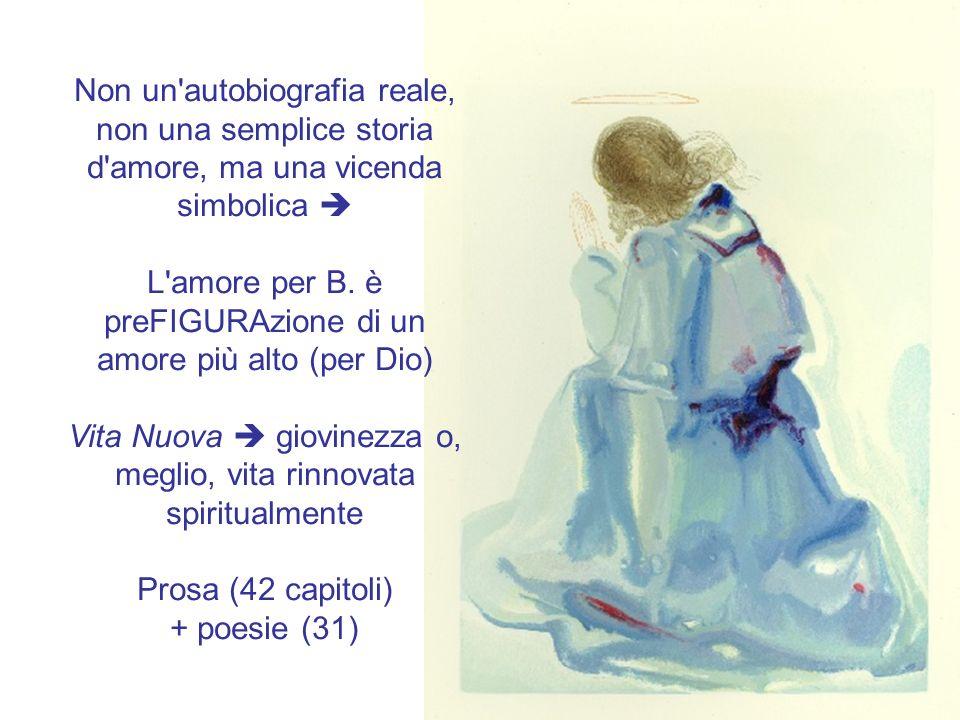 Non un'autobiografia reale, non una semplice storia d'amore, ma una vicenda simbolica L'amore per B. è preFIGURAzione di un amore più alto (per Dio) V