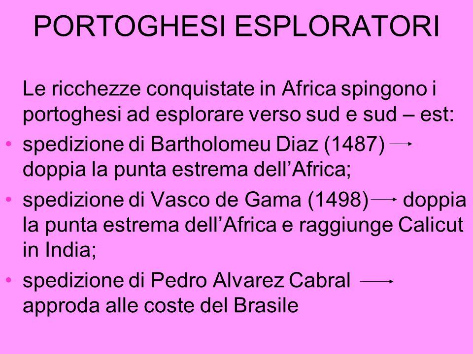 PORTOGHESI ESPLORATORI Le ricchezze conquistate in Africa spingono i portoghesi ad esplorare verso sud e sud – est: spedizione di Bartholomeu Diaz (14