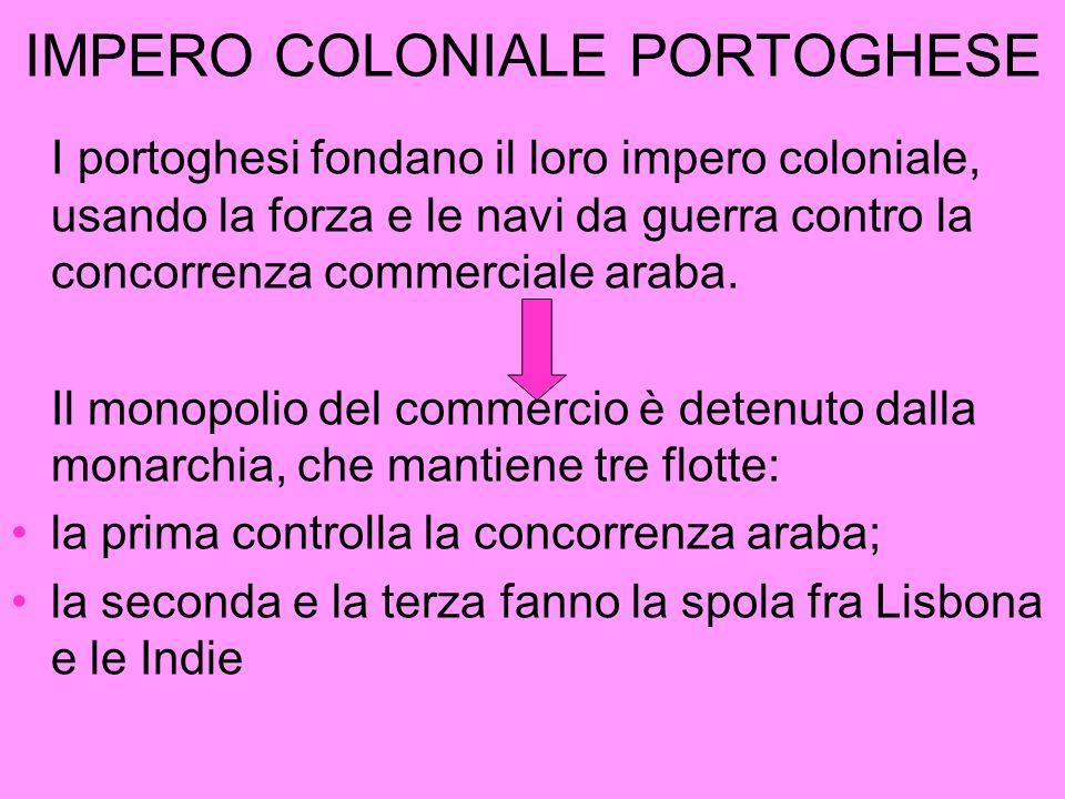 IMPERO COLONIALE PORTOGHESE I portoghesi fondano il loro impero coloniale, usando la forza e le navi da guerra contro la concorrenza commerciale araba