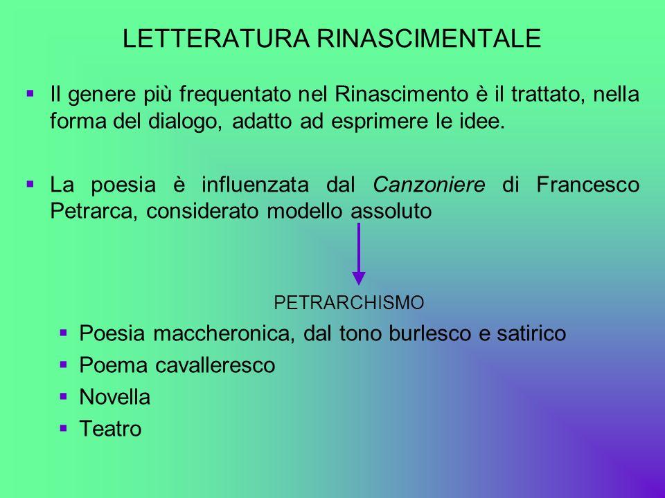 LETTERATURA RINASCIMENTALE Il genere più frequentato nel Rinascimento è il trattato, nella forma del dialogo, adatto ad esprimere le idee. La poesia è
