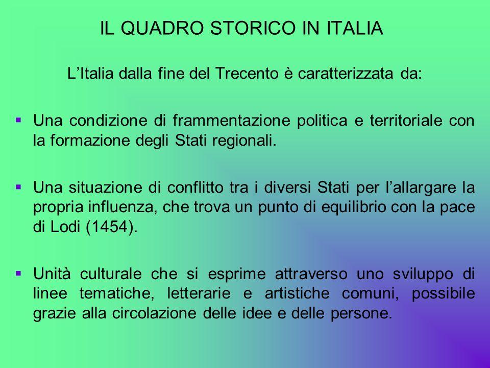IL QUADRO STORICO IN ITALIA LItalia dalla fine del Trecento è caratterizzata da: Una condizione di frammentazione politica e territoriale con la forma