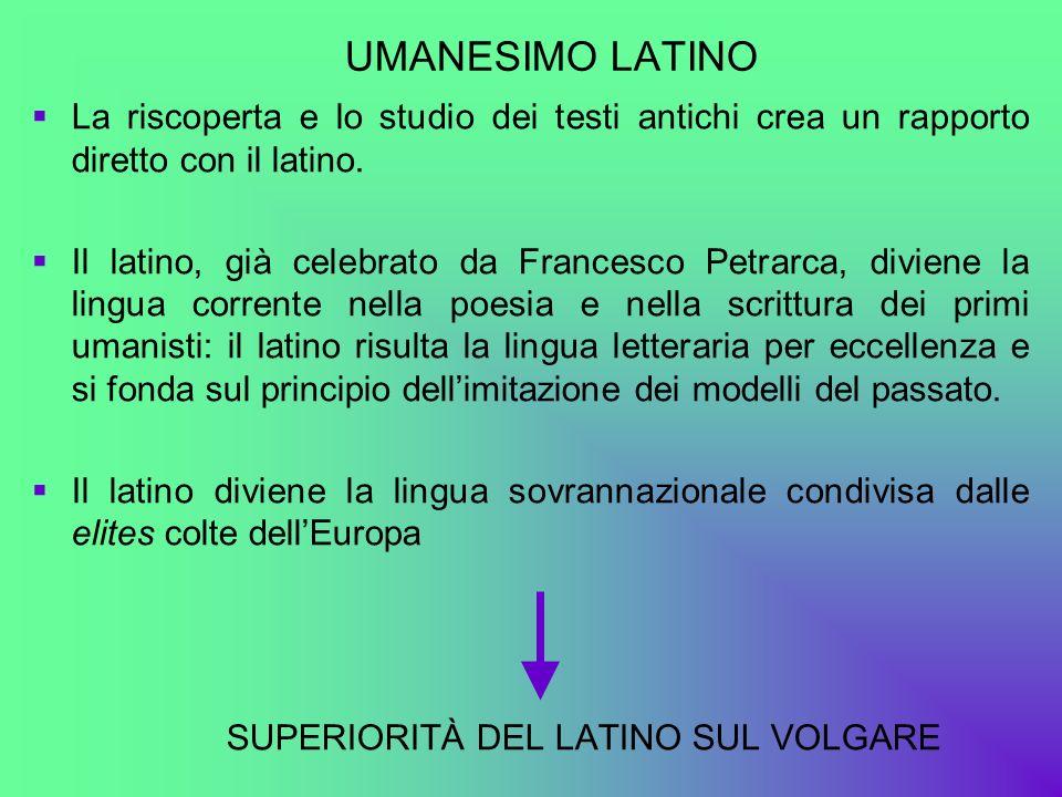 UMANESIMO LATINO La riscoperta e lo studio dei testi antichi crea un rapporto diretto con il latino. Il latino, già celebrato da Francesco Petrarca, d