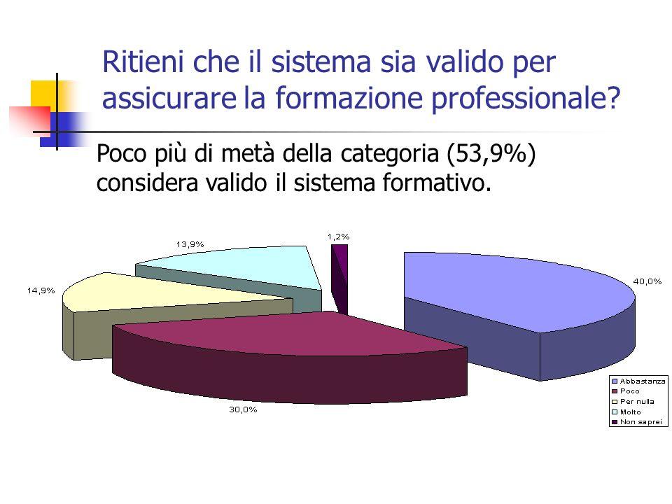 Ritieni che il sistema sia valido per assicurare la formazione professionale.
