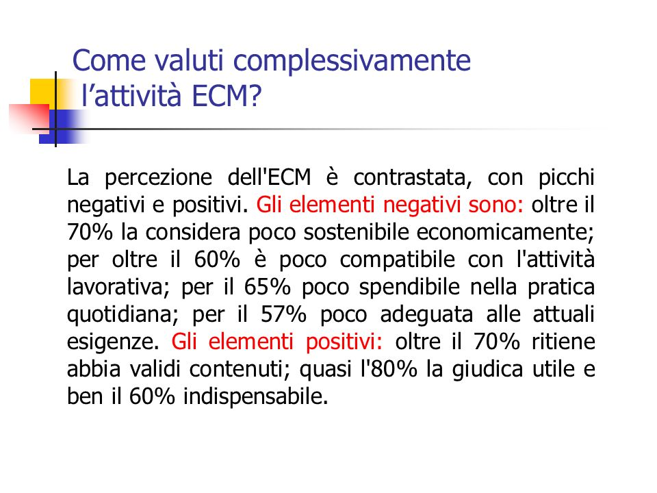 Come valuti complessivamente lattività ECM.