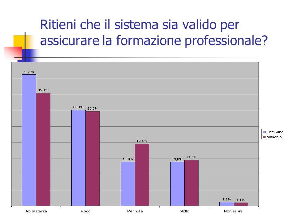 Ritieni che il sistema sia valido per assicurare la formazione professionale?