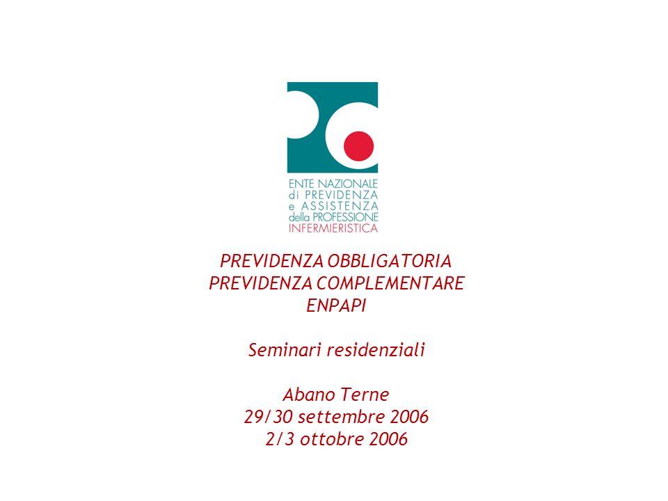 PREVIDENZA OBBLIGATORIA PREVIDENZA COMPLEMENTARE ENPAPI Seminari residenziali Abano Terne 29/30 settembre 2006 2/3 ottobre 2006