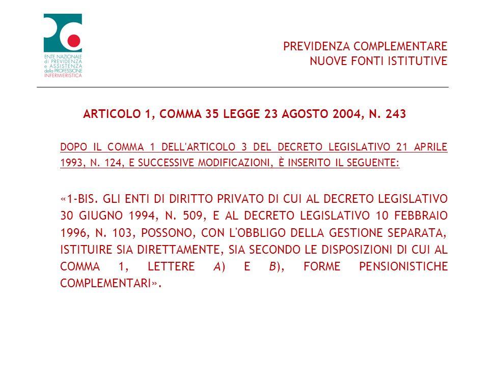 PREVIDENZA COMPLEMENTARE NUOVE FONTI ISTITUTIVE ARTICOLO 1, COMMA 35 LEGGE 23 AGOSTO 2004, N. 243 DOPO IL COMMA 1 DELL'ARTICOLO 3 DEL DECRETO LEGISLAT
