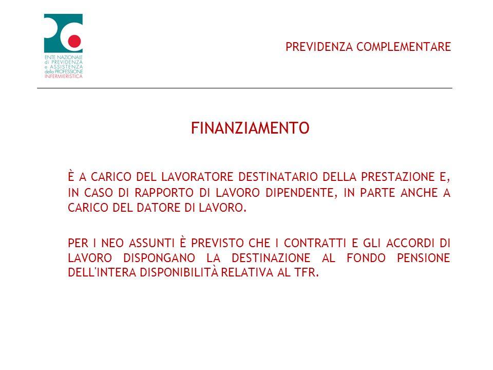 PREVIDENZA COMPLEMENTARE FINANZIAMENTO È A CARICO DEL LAVORATORE DESTINATARIO DELLA PRESTAZIONE E, IN CASO DI RAPPORTO DI LAVORO DIPENDENTE, IN PARTE