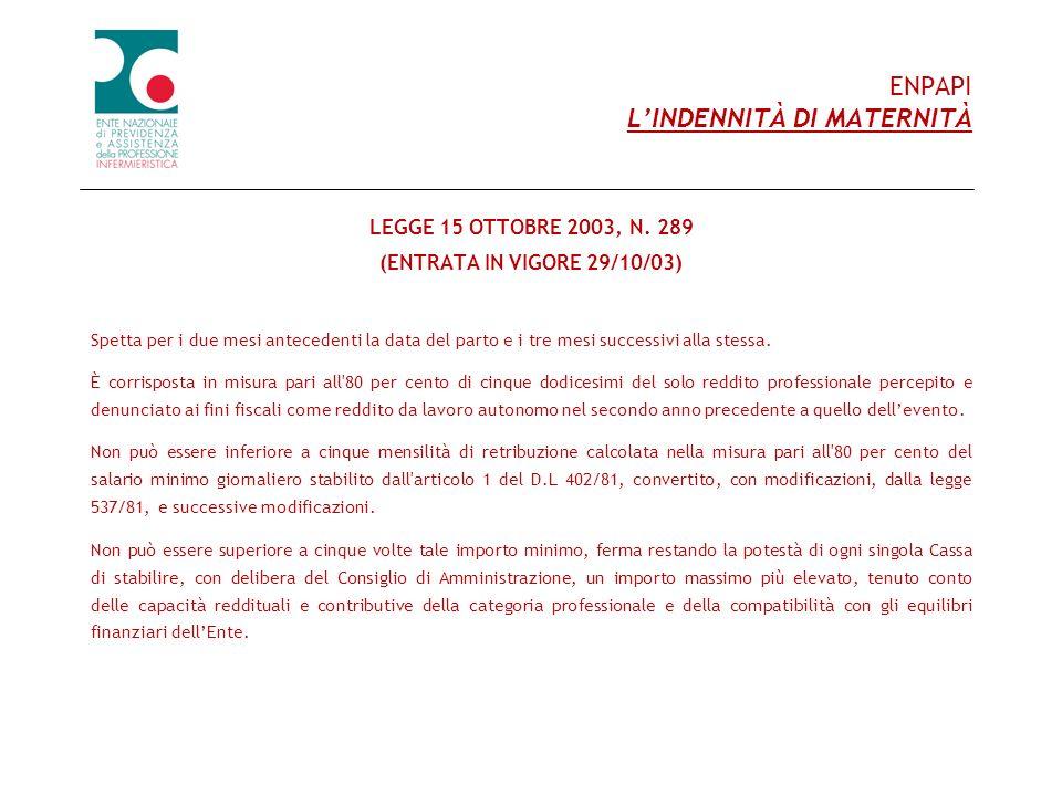 ENPAPI LINDENNITÀ DI MATERNITÀ LEGGE 15 OTTOBRE 2003, N. 289 (ENTRATA IN VIGORE 29/10/03) Spetta per i due mesi antecedenti la data del parto e i tre