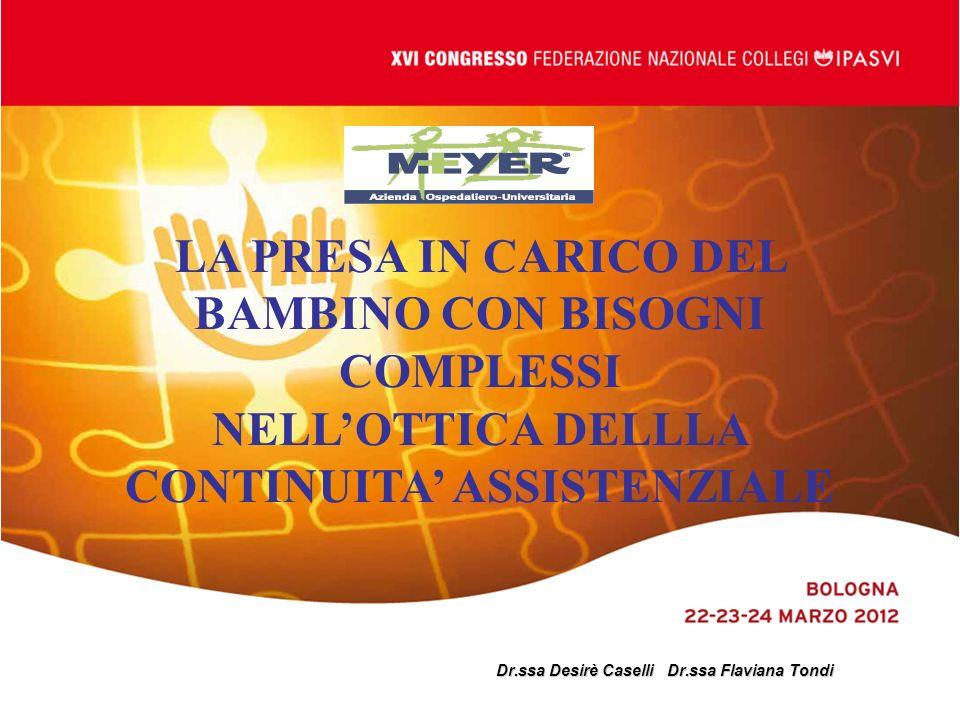 Dr.ssa Desirè Caselli Dr.ssa Flaviana Tondi LA PRESA IN CARICO DEL BAMBINO CON BISOGNI COMPLESSI NELLOTTICA DELLLA CONTINUITA ASSISTENZIALE